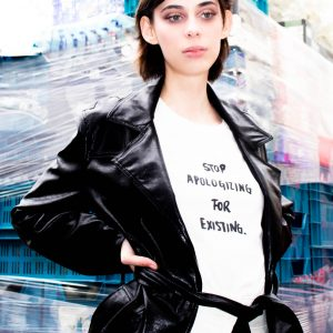 T-Shirt by Milk 'Stop Apologising for Existing' with Eve Smiski