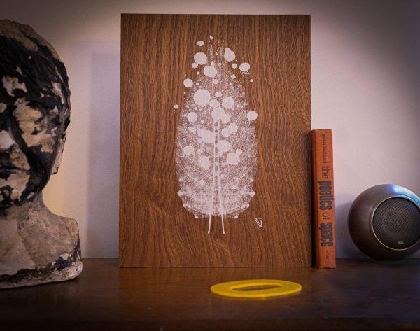 Dana Gusman screen print leaf on wood